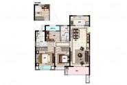 中海锦城A3户型:103-106㎡ 三房两厅两卫