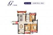 金丘紫金城户型G:112㎡三房两厅两卫三阳台