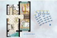 中骏黄金海岸B户型:77㎡两房两厅两卫