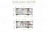 万科悦城115-119㎡户型 四房两厅三卫双阳台