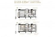 万科悦城133-135㎡户型 五房两厅三卫双阳台