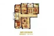 百宏御书香提123-131㎡户型四房两厅两卫