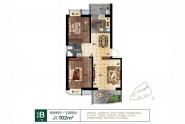 海宸尊域5#B户型:102㎡ 两房一厅一卫两阳台