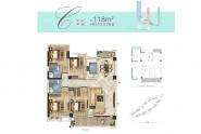 匹克奥林公园118㎡户型 四房两厅两卫两阳台
