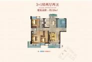 广海新景悦府128㎡户型:3+1房两厅两卫