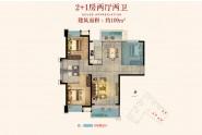 广海新景悦府109㎡户型:2+1房两厅两卫