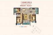 广海新景悦府105㎡户型:三房两厅两卫