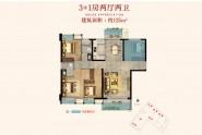 广海新景悦府125㎡户型:3+1房两厅两卫