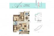 匹克奥林公园105㎡户型 三房两厅两卫两阳台