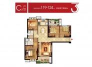 当代万国城C2户型 119-124㎡ 四房两厅两卫