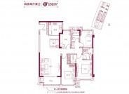 美的智慧城132㎡户型:四房两厅两卫